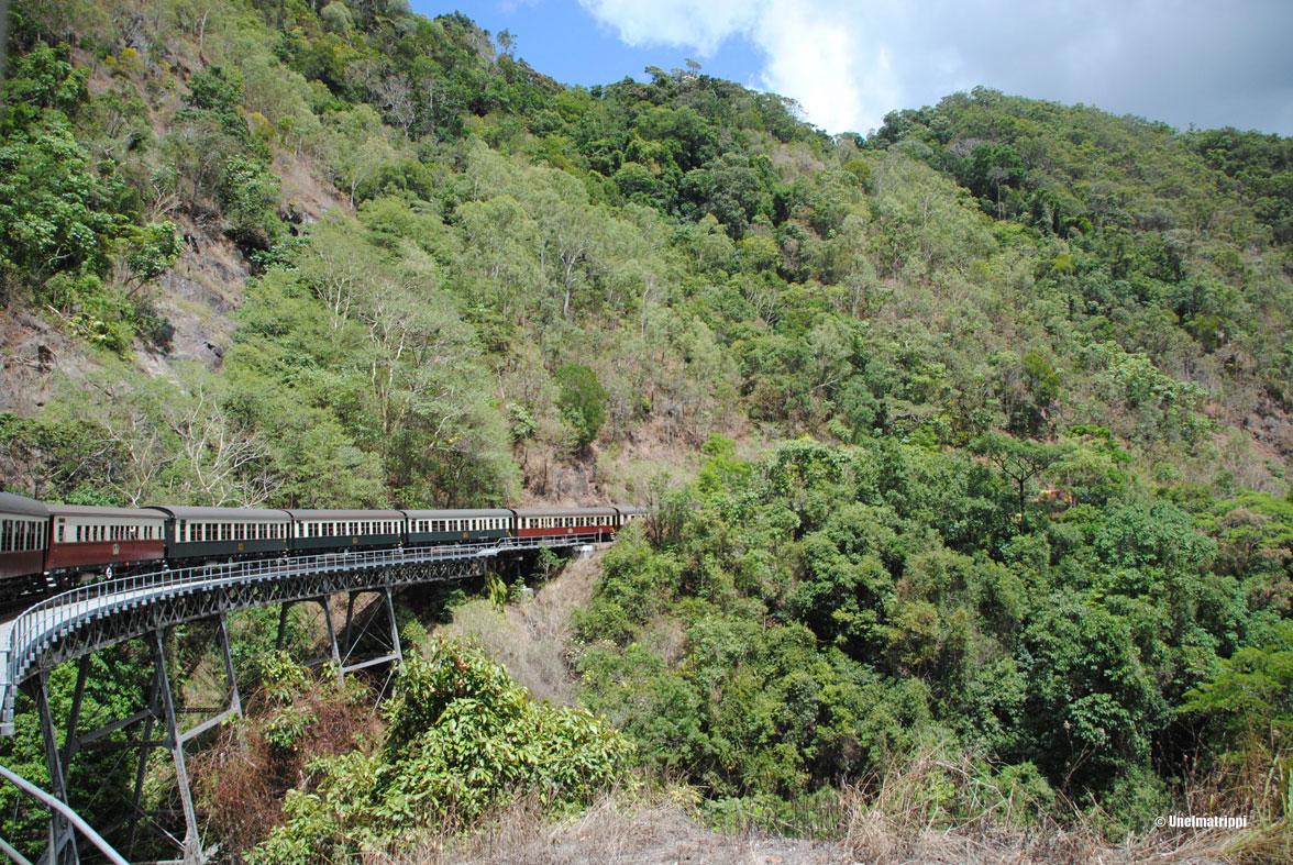 Maisemajunassa ja sademetsän yllä Kurandassa
